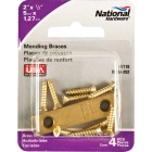 National Catalog 118 2 In. x 1/2 In. Brass Steel Mending Brace (4-Count) Image 2